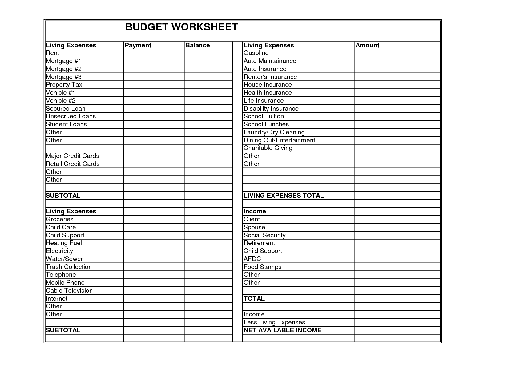 Client Budget Worksheet Gale Law Firm Minnesota Bankruptcy ...
