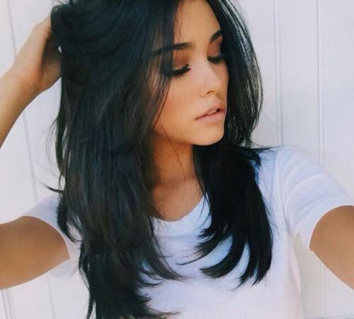 Medium length hairstyle with layers…