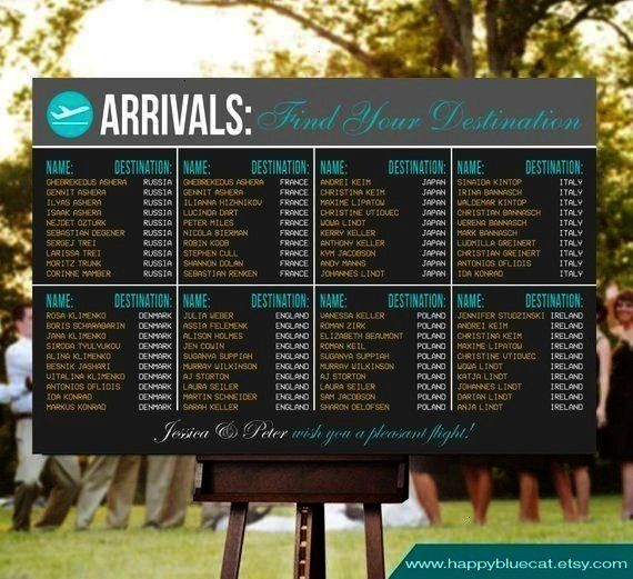 RUSH SERVICE  Arrivals Airport Travel Theme Wedding Seating Chart Reception Poster  Digital Printable File HC129n3 Wedding Seating Chart  RUSH SERVICE  Arrivals Airport...