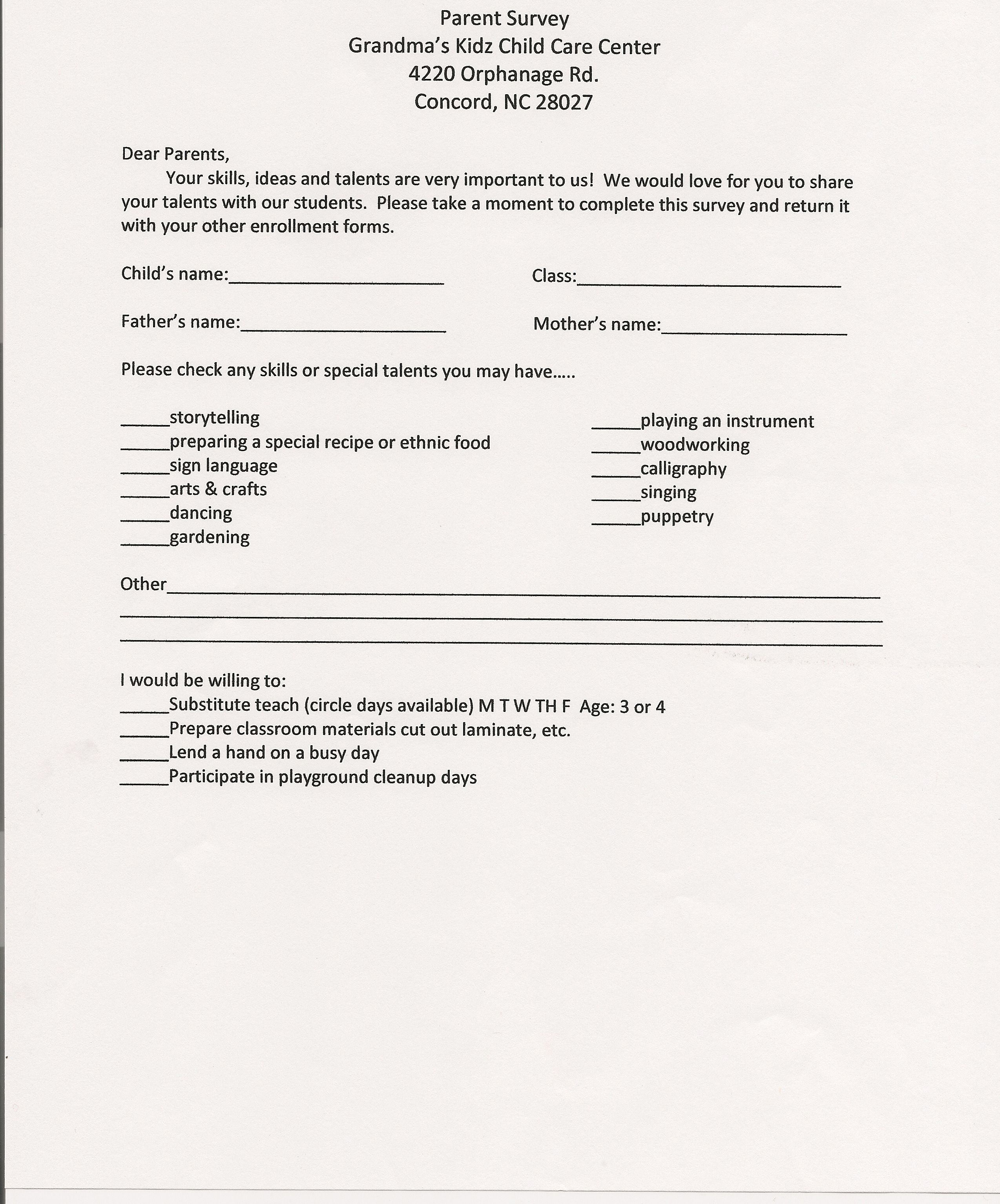 Parent Survey Forms Printable PreK | Preschool | Daycare | Child Care |  Concord NC