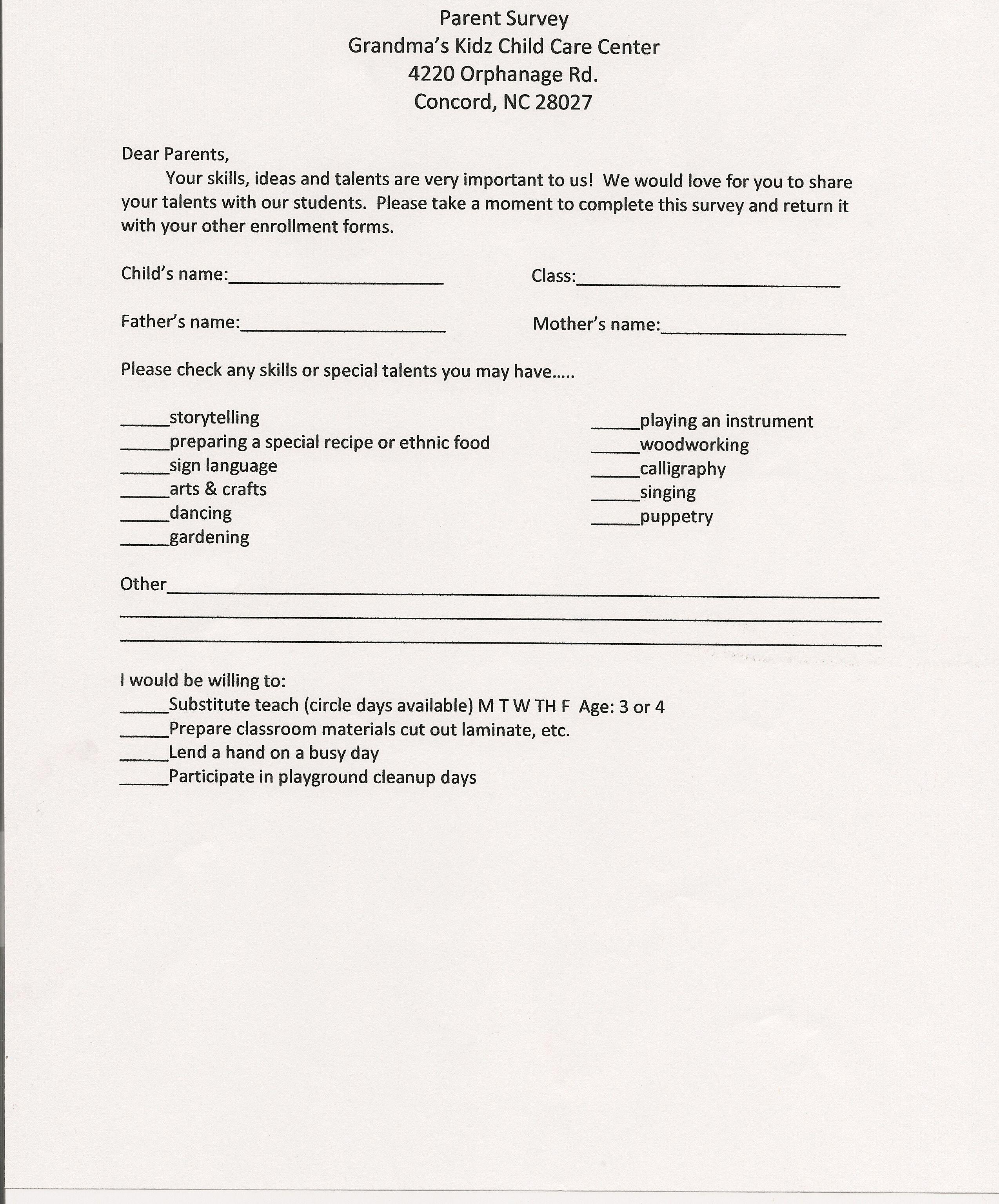 Parent Survey Forms Printable Prek