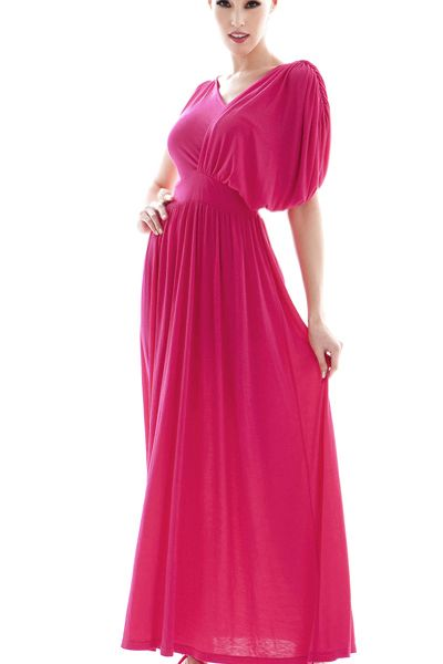 Charming Pleated V Neck One Shoulder Sleeveless Rose Cotton Ankle Length Dress