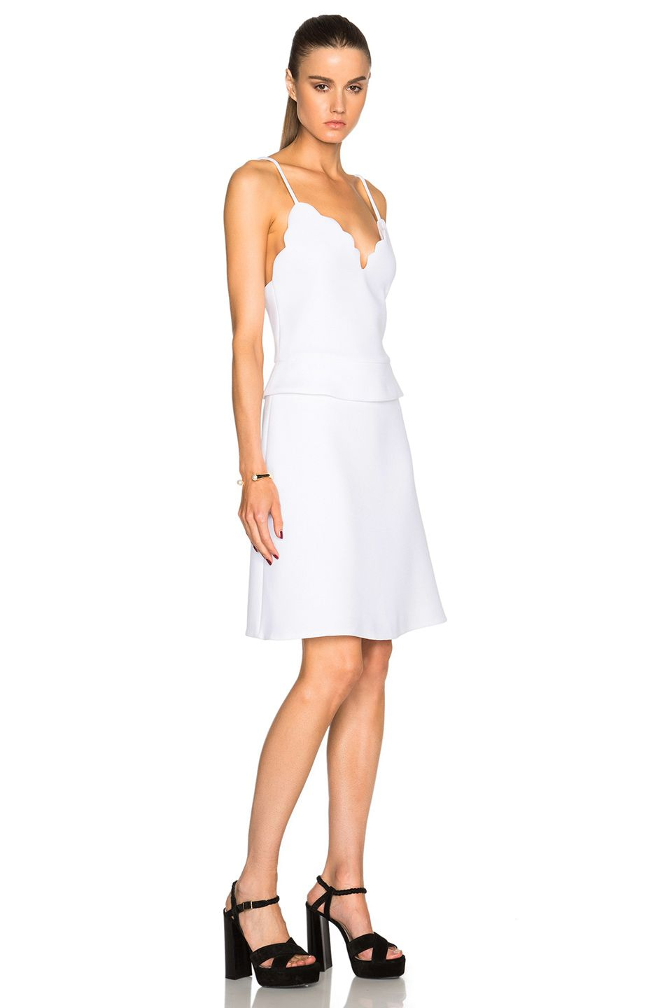 Image 3 of carven scalloped peplum dress in blanc bridesmaid image 3 of carven scalloped peplum dress in blanc ombrellifo Images