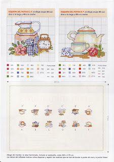 Esquemas y patrones: Mantel punto cruz para el te / tablecloth cross sticht for tea time