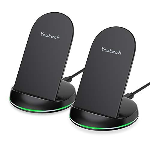 Yootech 2 Pack Wireless Charger QiCertified 10W Max Wireless Charging Stand Compatible
