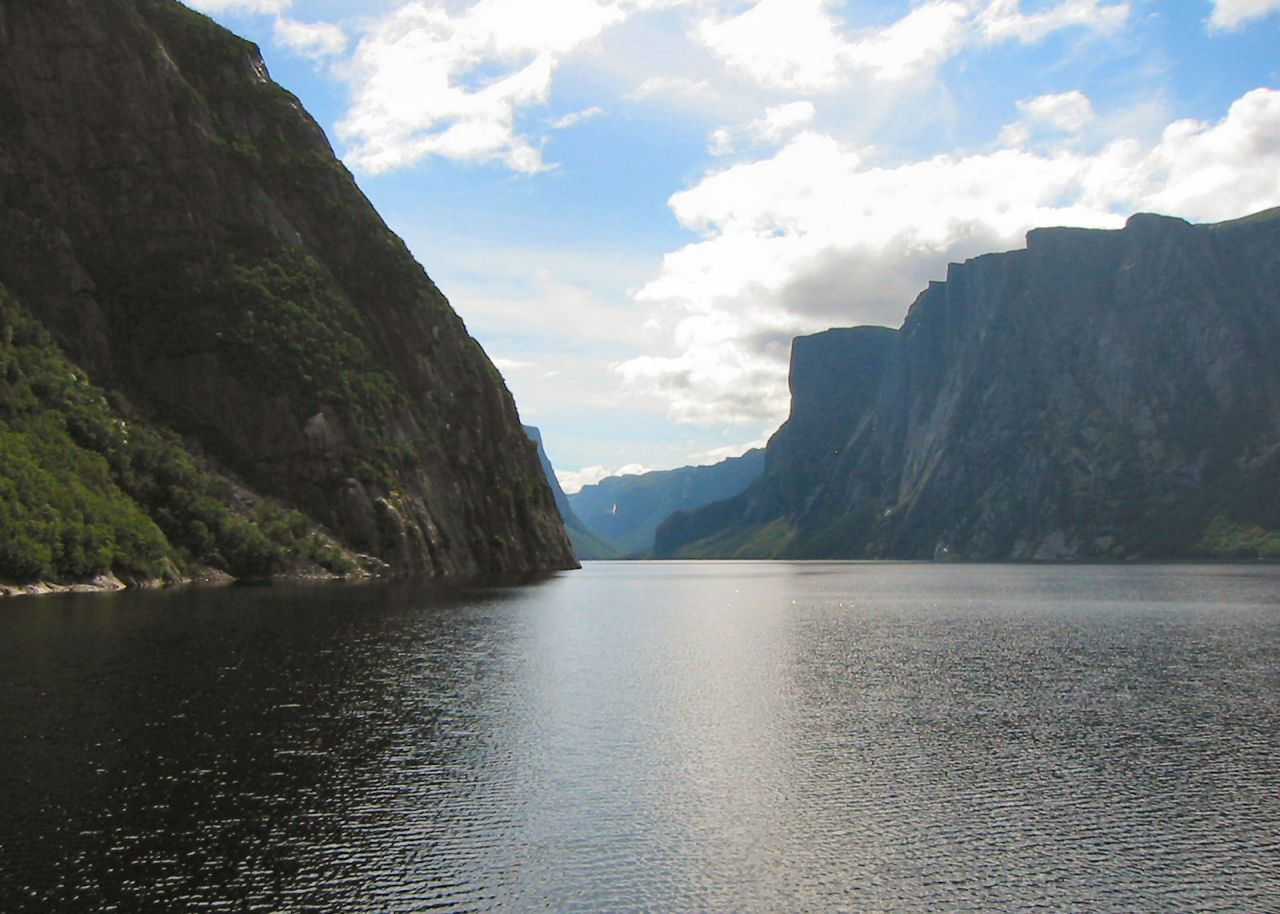 Gros Morne Park - Western Brook Pond - when the glacier melted, the land raised up leaving an inland fiord of natural water.