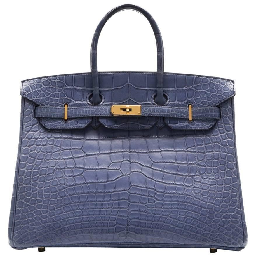3648240e52 46k Hermes Alligator Brighton Blue 35cm Birkin Bag