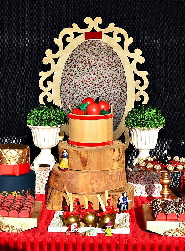 Red Gold Snow White Themed Dessert Table Snow White Party Snow White Birthday Party Snow White