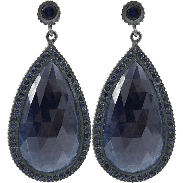 YOSSI HARARI Lilah Pear Shape Sapphire Slice Earrings ($9,300) ❤ liked on Polyvore featuring jewelry, earrings, accessories, gilver, pear shape earrings, yossi harari, sapphire jewellery, oxidized jewelry and sapphire earrings