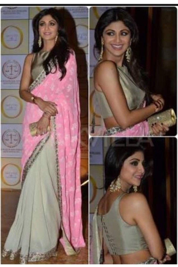 6c1ff85eef7022 Bollywood Inspired - Shilpa Shetty In Designer Pink   White Saree - SSP