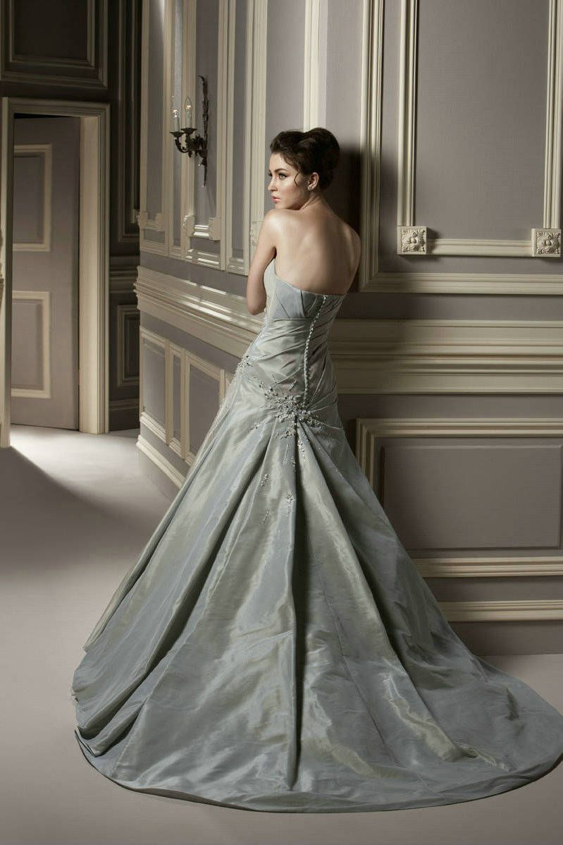 Long Ruched Elegant Strapless Appliques Princess Silver