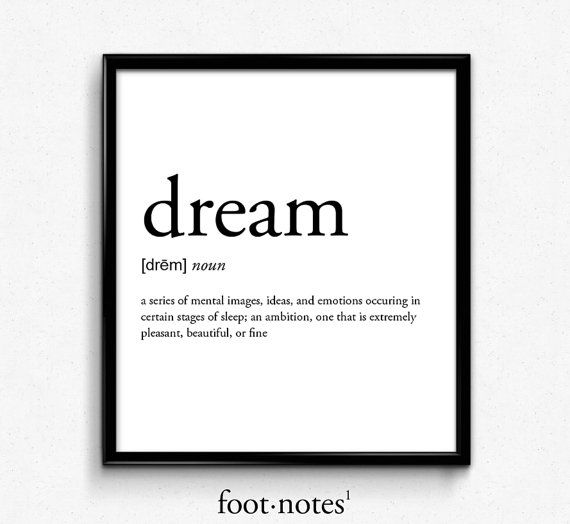 Dream definition dictionary art print college dorm decor