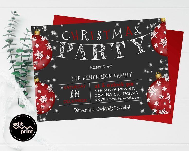 Christmas Party Invitation Holiday Party Editable Invite Classic Merry Christmas Invitation Christmas Party Invitation Holiday Party Editable Invite Classic Merry Christm...