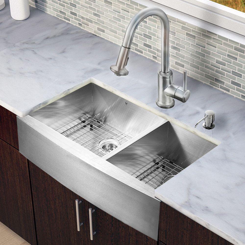 Vigo All In One 36 X 22 25 Farmhouse Double Bowl Kitchen Sink With Fa Stainless Steel Farmhouse Kitchen Sinks Farmhouse Sink Kitchen Double Bowl Kitchen Sink