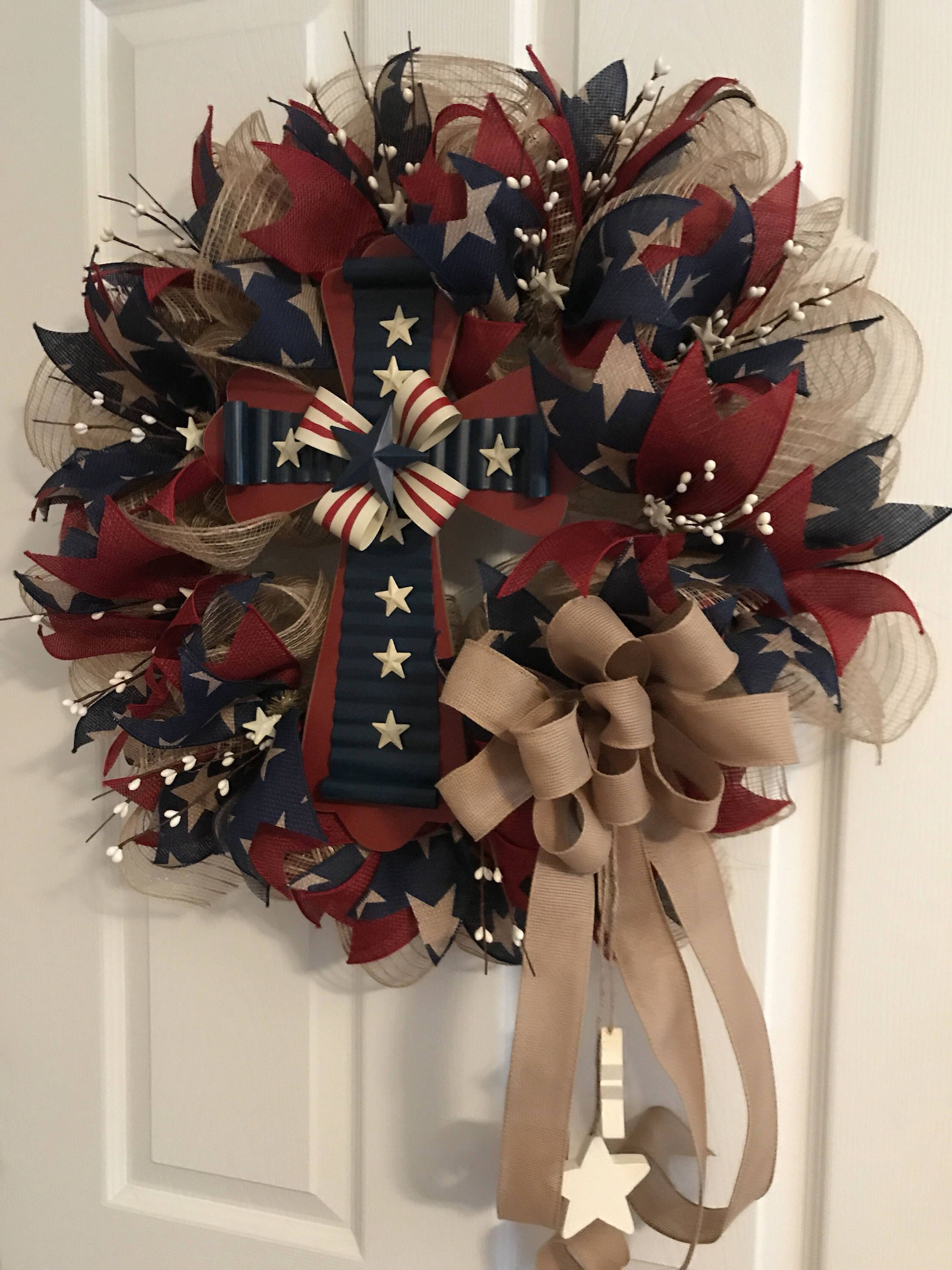 Patriotic Wreath, Americana Wreath, Fourth Of July Wreath, Burlap Wreath,