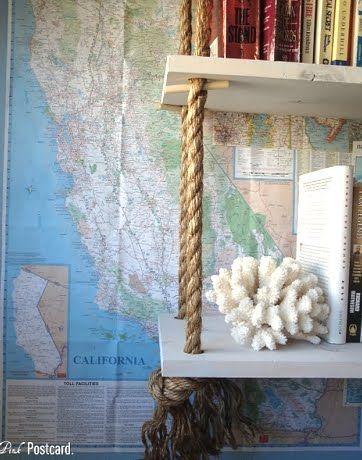 Coastal Decor Ideas Interior Design Diy Shopping Hanging Rope Shelves Rope Shelves Diy Hanging Shelves