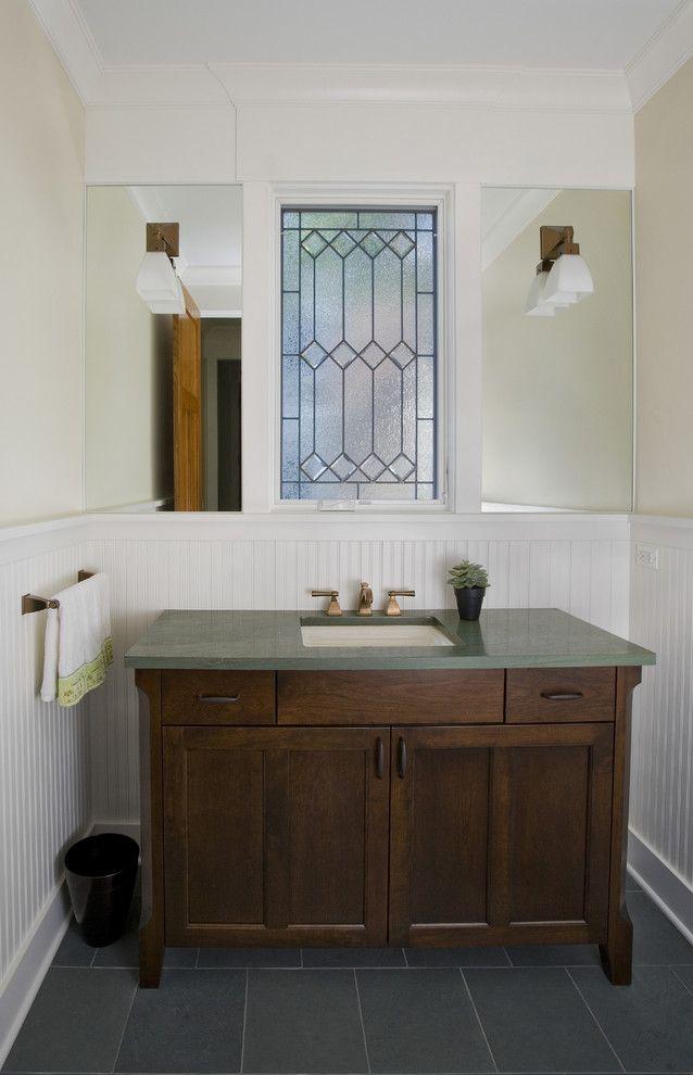 Powder Room With Mission Style Vanity Dark Wood Vanity With Cabinet Dark Green Countertop Craftsman Bathroom Craftsman Style Bathrooms Bathroom Vanity Designs