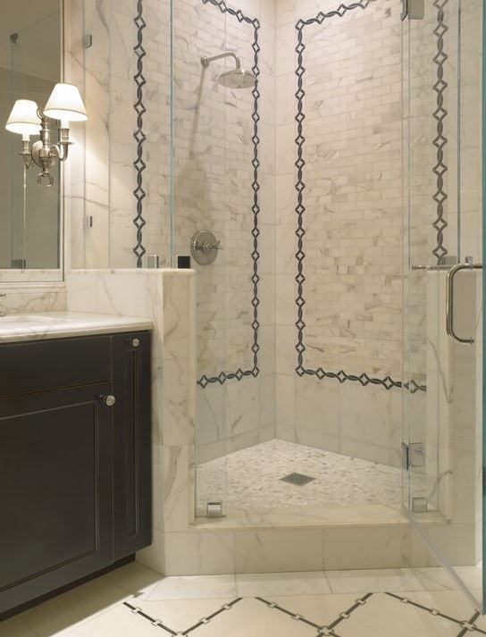 Corner Shower With Pony Walls With Images Corner Shower Small