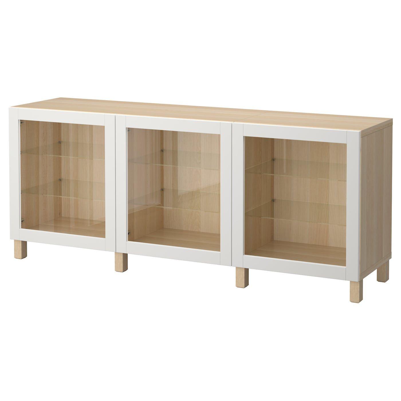 BESTÅ Storage combination with door – white stained oak effect, Sindvi …