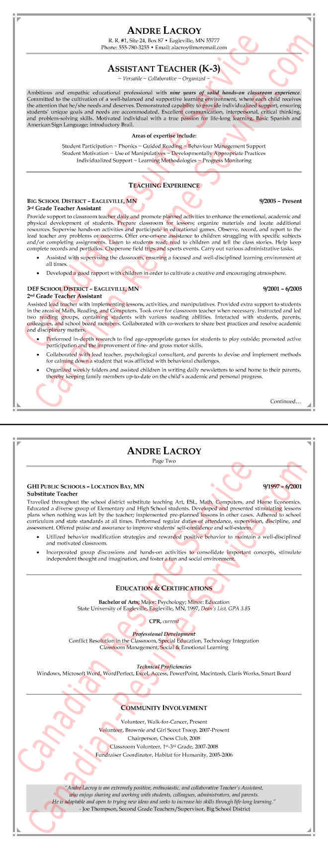 This Teaching Assistant Resume Example Goes With The Teacher Aid