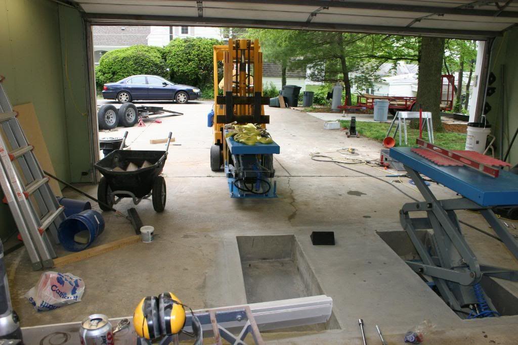 Man Cave Garage Journal : In floor scissor lift install the garage journal board