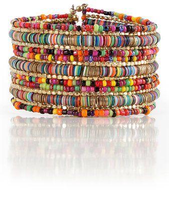 Bohemian Multi-Colored Sequin Gold Cuff Bracelet - SPUNKYsoul ...
