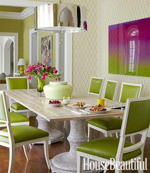 A Daring And Dramatic Home Green Dining RoomGreen