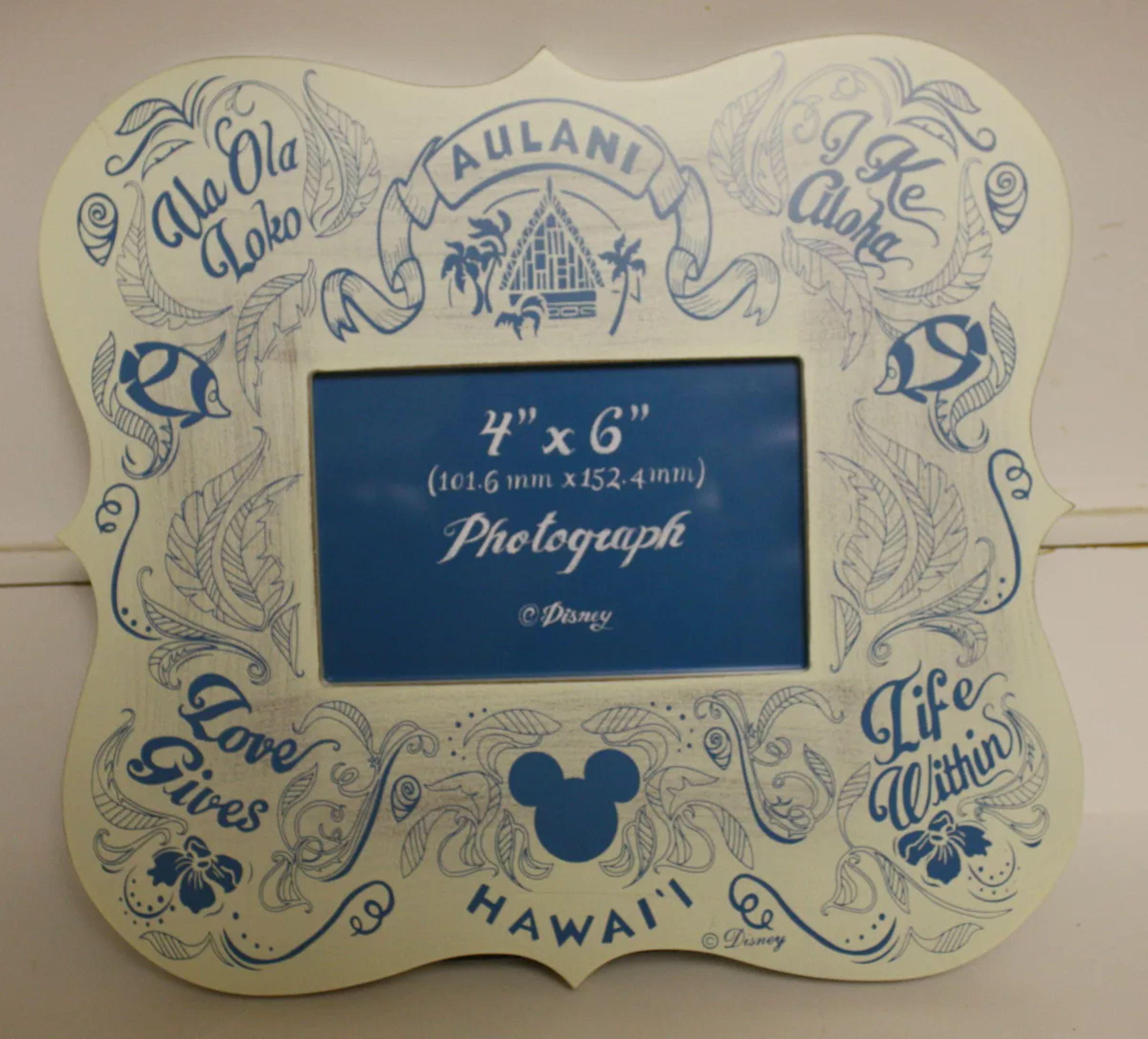 NEW! Aulani Chalkboard Blue Wood Picture Frame Aloha Hawaii Disney ...