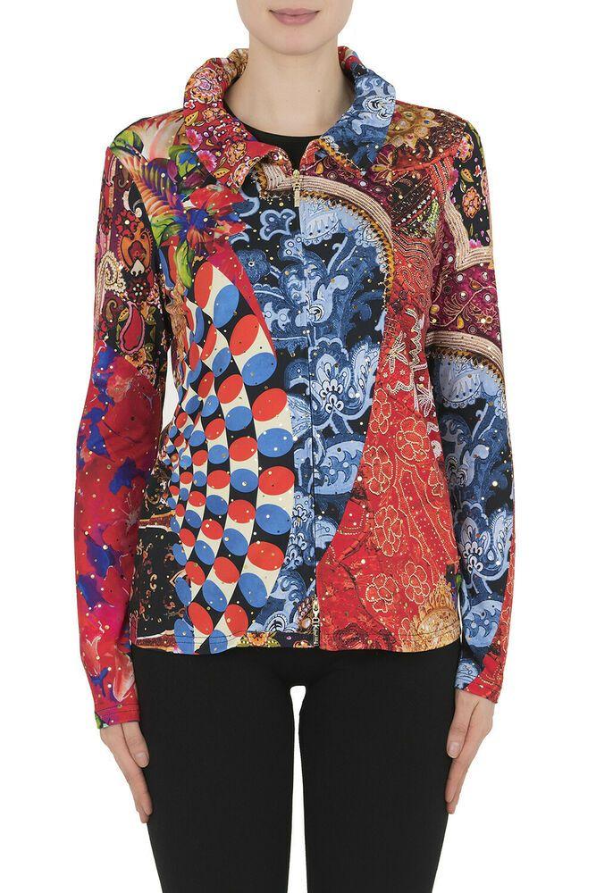 Joseph Ribkoff Multi Color Floral Print Scuba Knit Bell Cuff Jacket 184716 NEW
