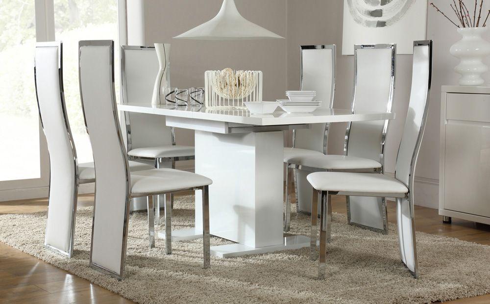 Osaka White High Gloss Extending Dining Table With 6 Celeste