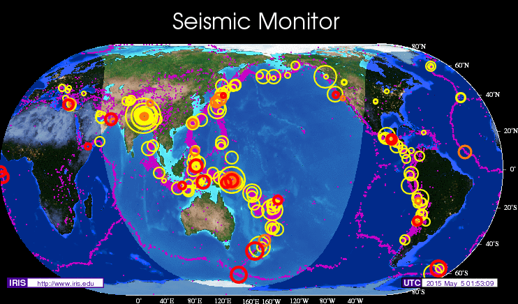 Seismic Monitor Recent Earthquakes On A World Map And Much More