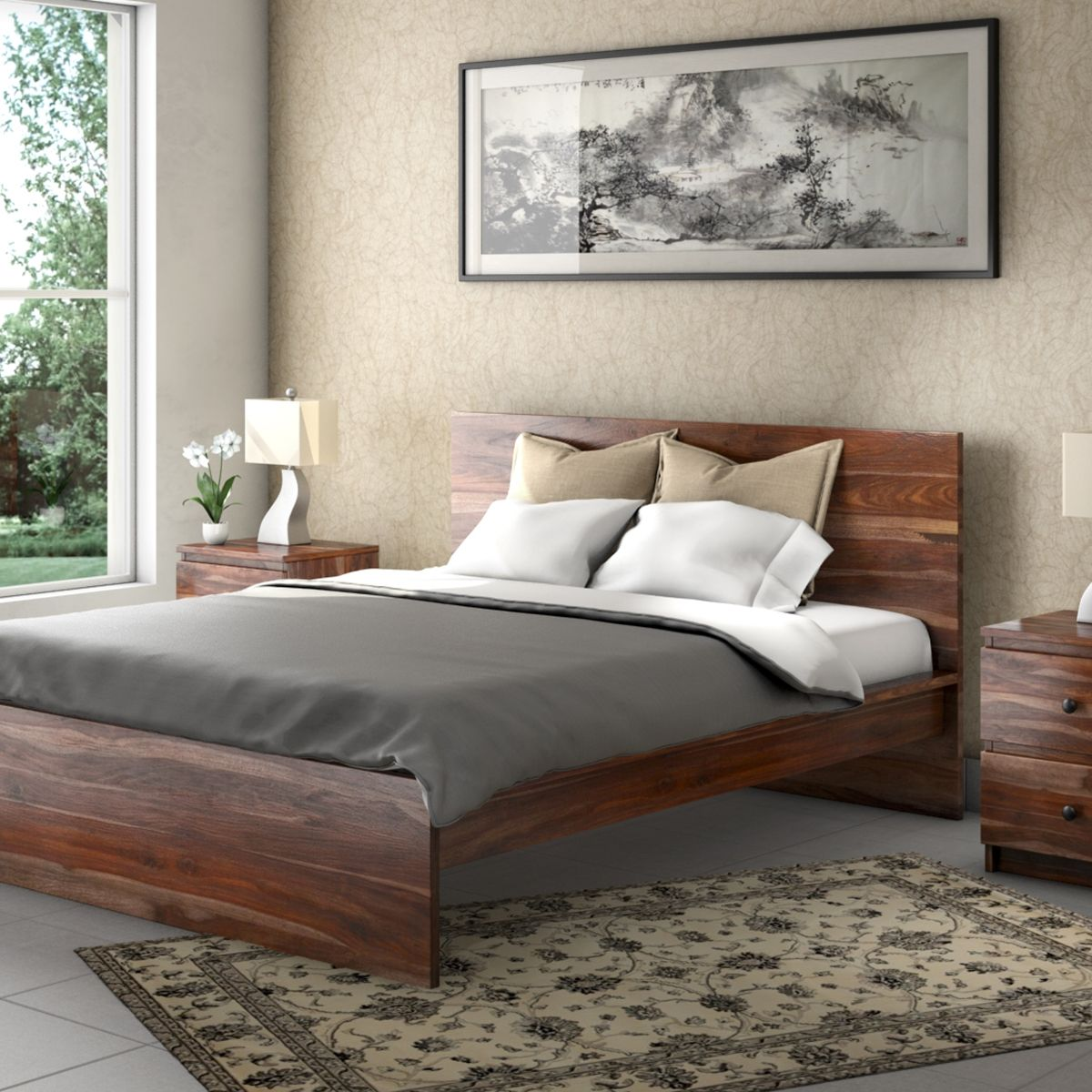- Modern Simplicity Solid Wood Platform Bed Frame W Nightstand