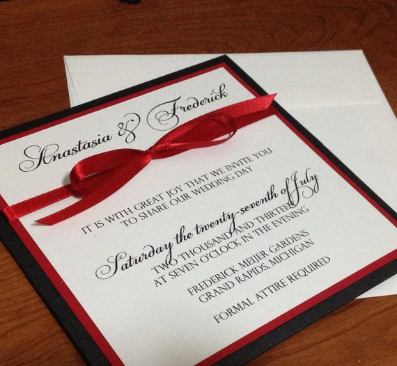 Square Elegant Panel Pocket Wedding Invitation Black Red White on