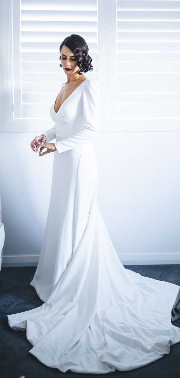 White Satin Long Sleeve V Neck With Train Simple Wedding Dresses