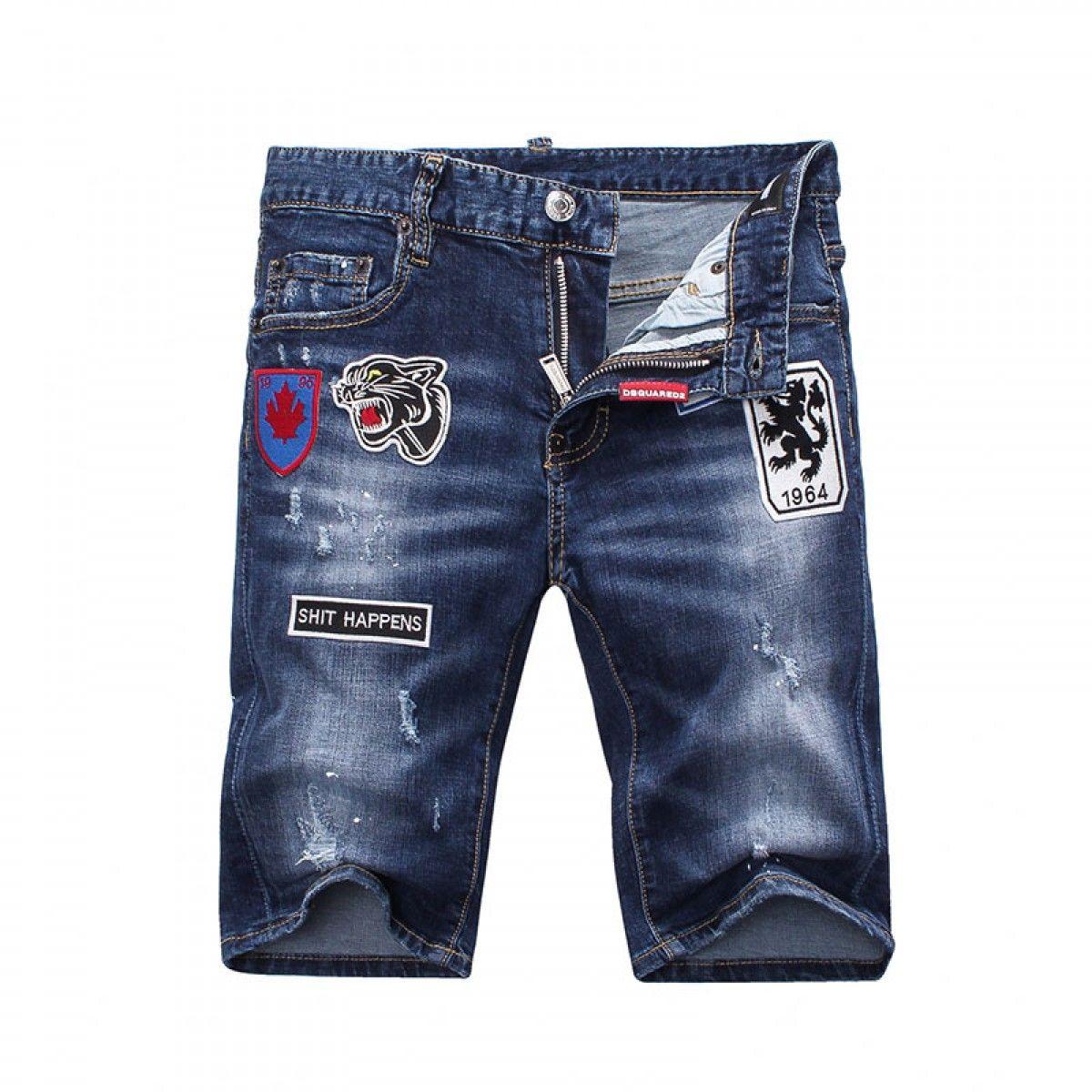 Dsquared2 SS2018 Mens Short Jeans Tiger Badge Navy Blue ... 62f598d8dc40