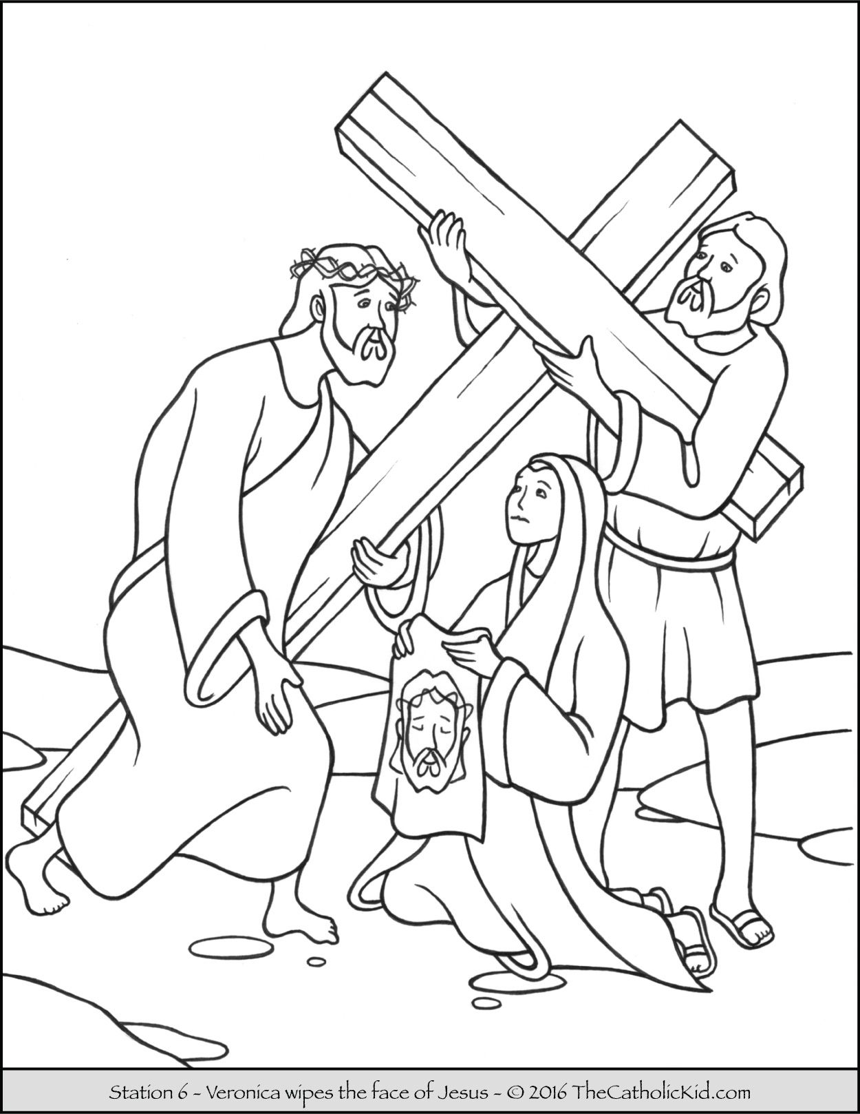 coloring page for the second station of the cross jesus carries