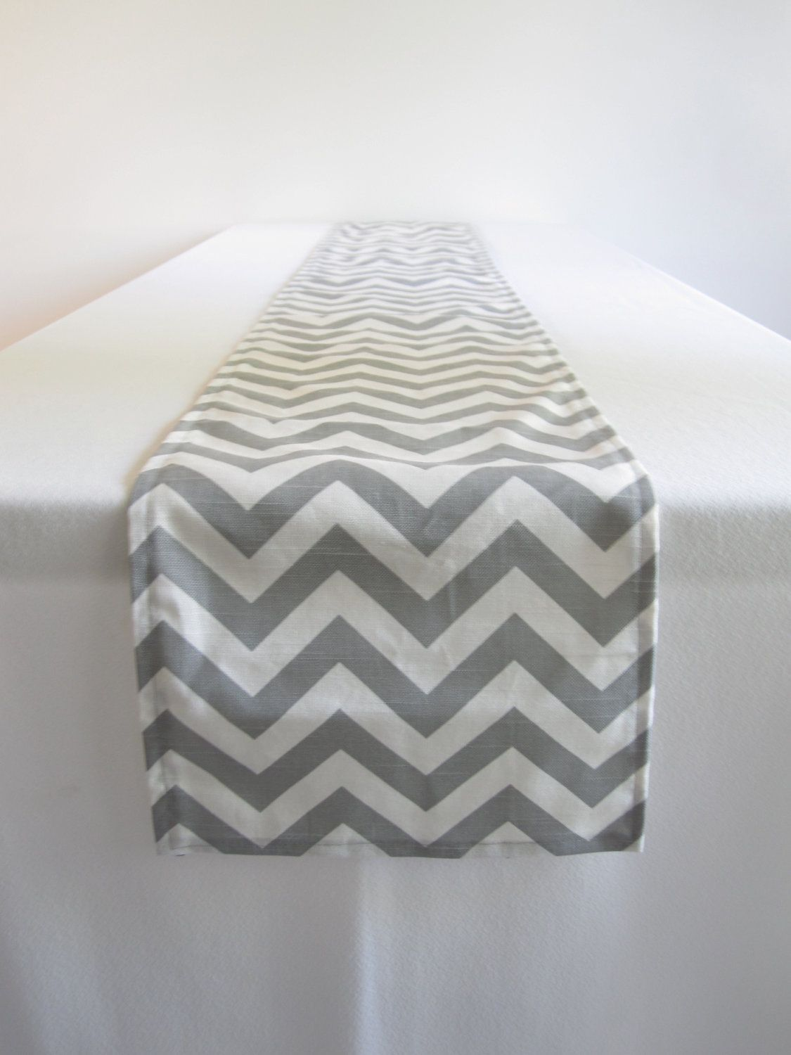 Gray And White Chevron Table Runner   10 X 78.5 In