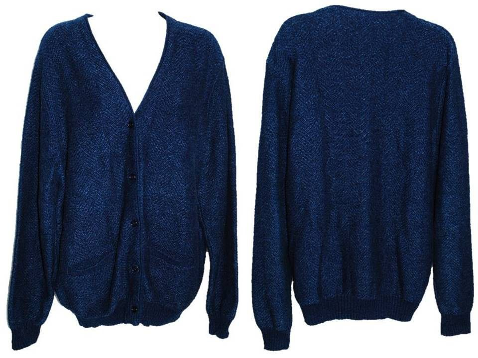 L.L. Bean Navy Blue Button Down Women's Size Large Cardigan ...
