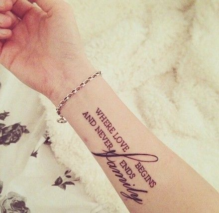 Share tattoos quotes ideas small wrist for Quote tattoo placement