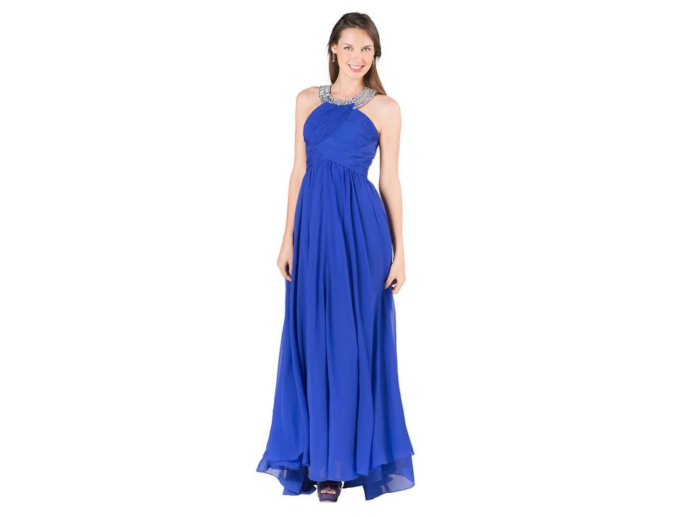 Vestido Largo Rue De La Paix Moda Bianco 33044 Azul