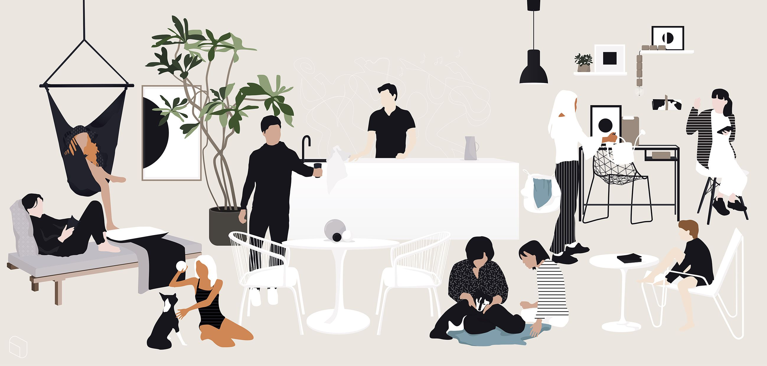 Vector Interior Design Illustration Flat Vector People For