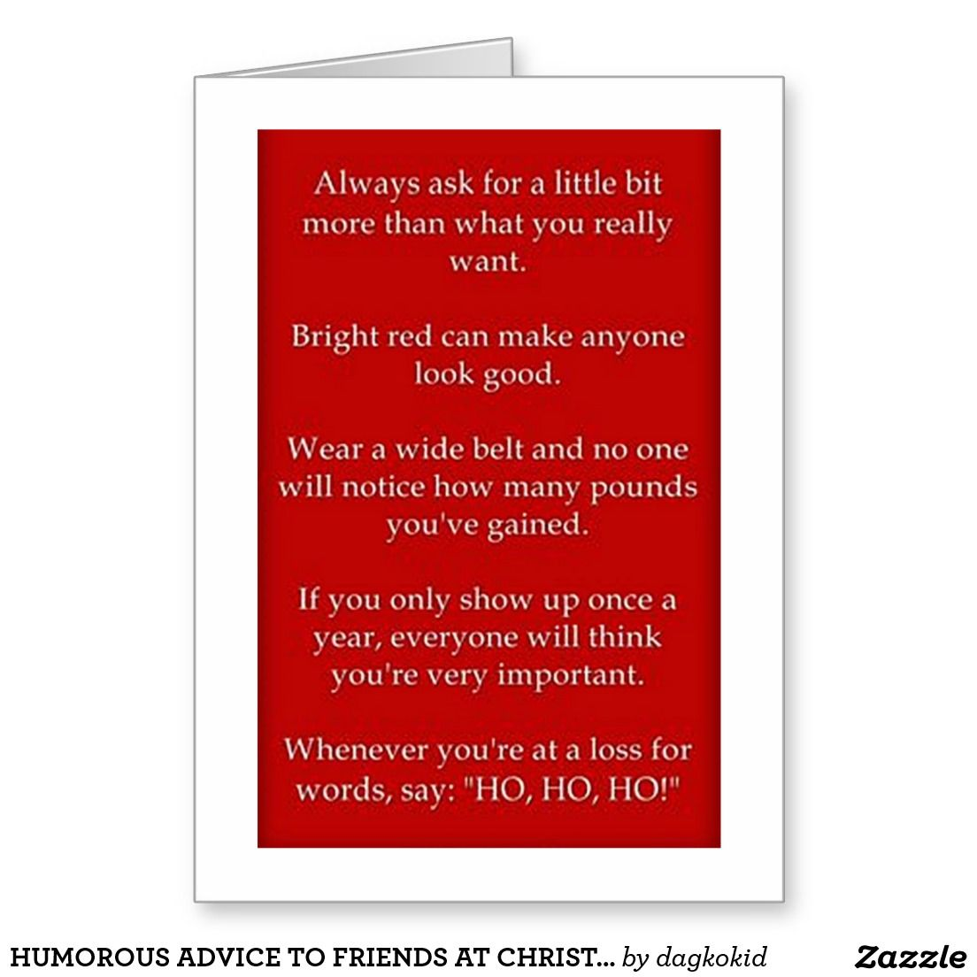 Humorous Advice To Friends At Christmas Card Advice