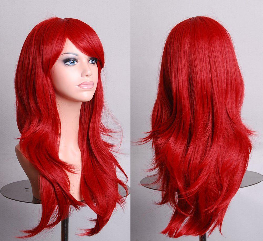 하라주쿠 코스프레 가발 레드 높은 품질 70 센치메터 곱슬 웨이브 머리 긴 합성 머리 패드 Perruque peluca peruca femininas
