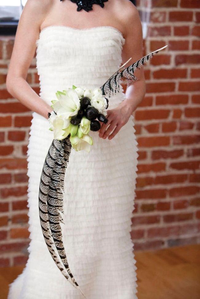 Feathered Flourish Wedding Bouquets With Feathers White Wedding
