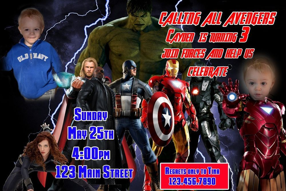 Superhero Birthday Invitation, Avengers Birthday Invitation, The Avengers