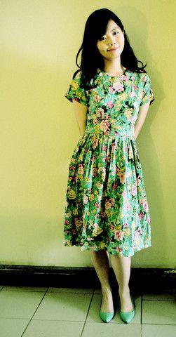 Vintage Dress, Green Flats