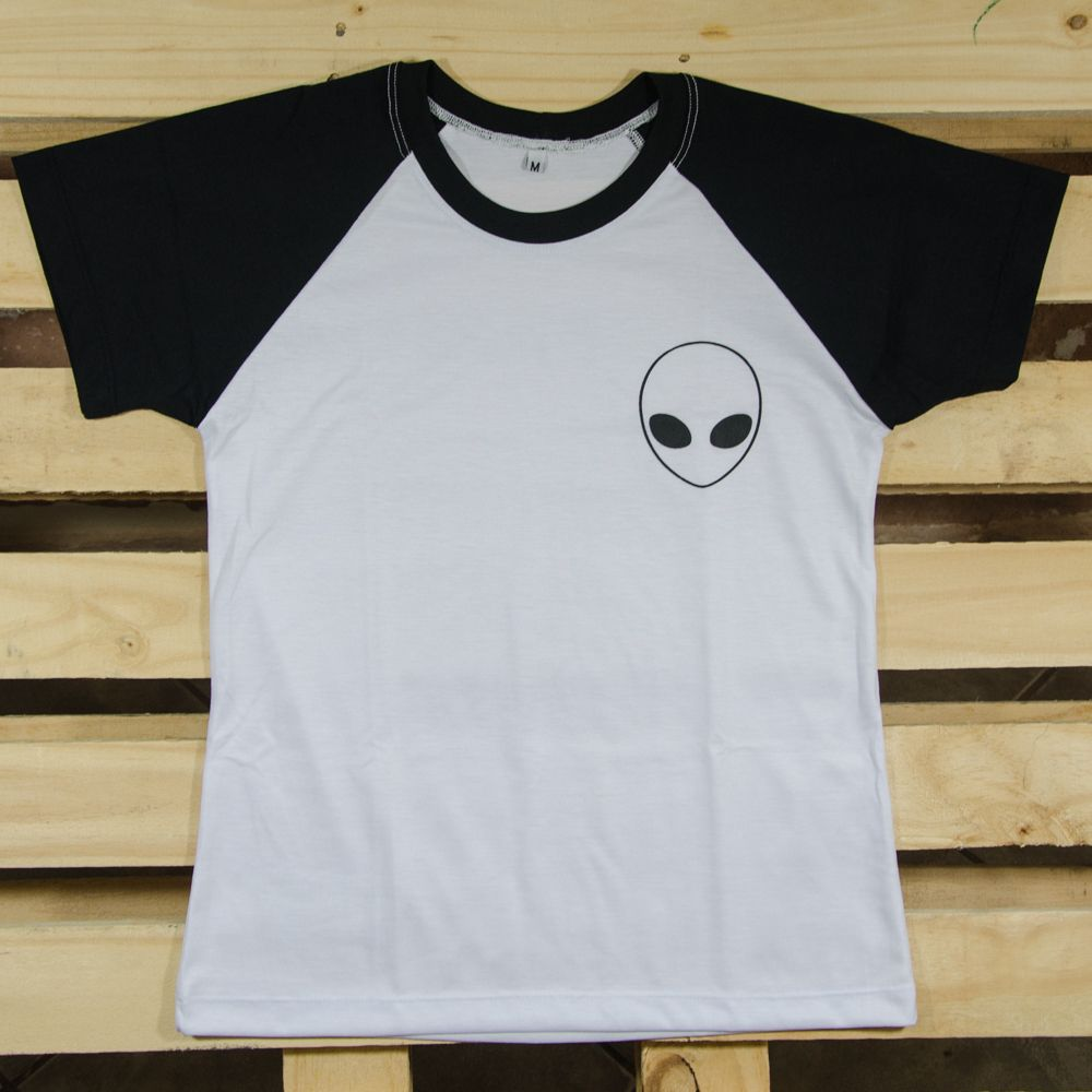 f5b6def46 Camiseta Raglan Alien Tumblr Et Baby Look Camisa