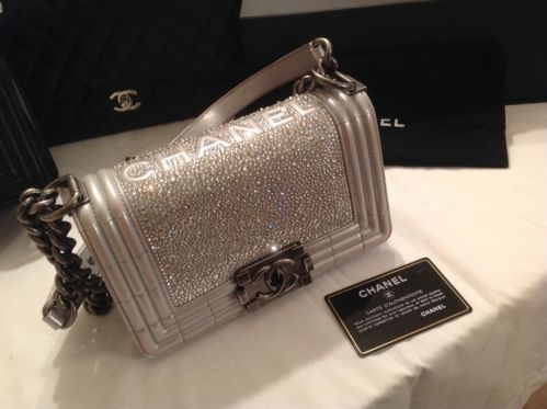fba902ba578b Chanel Le Boy Small Flap Bag Silver Custom Made with Swarovski Crystal  Elements | eBay