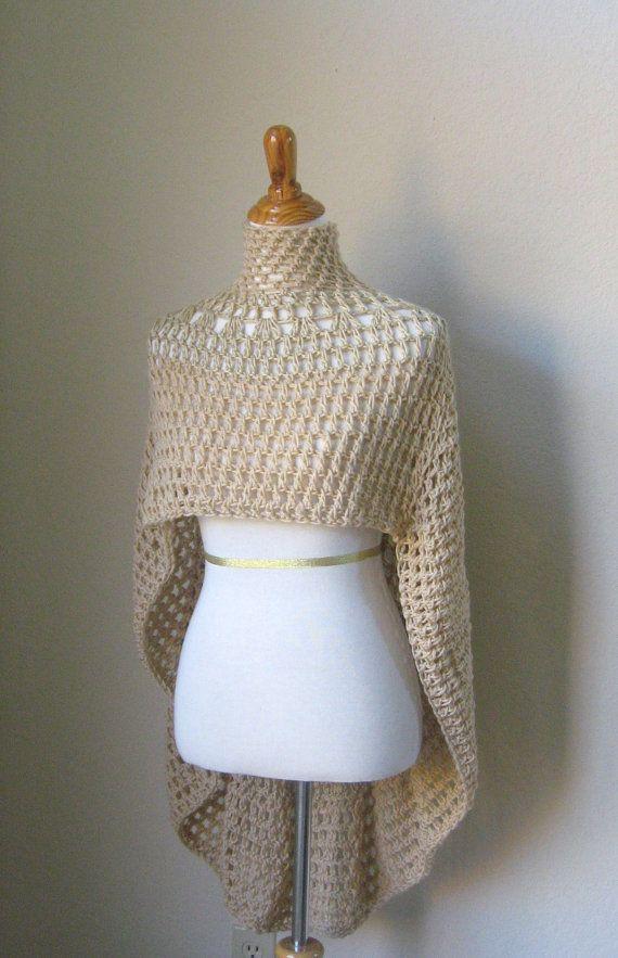 PONCHO BEIGE BOHO Chic Capelet Crochet Knit Fashion by ...