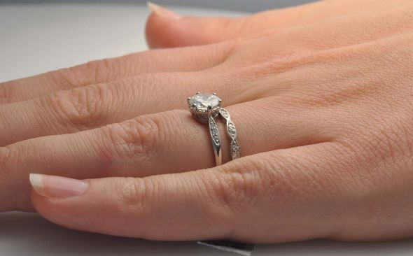 Wedding Band And Low Set Engagement Ring